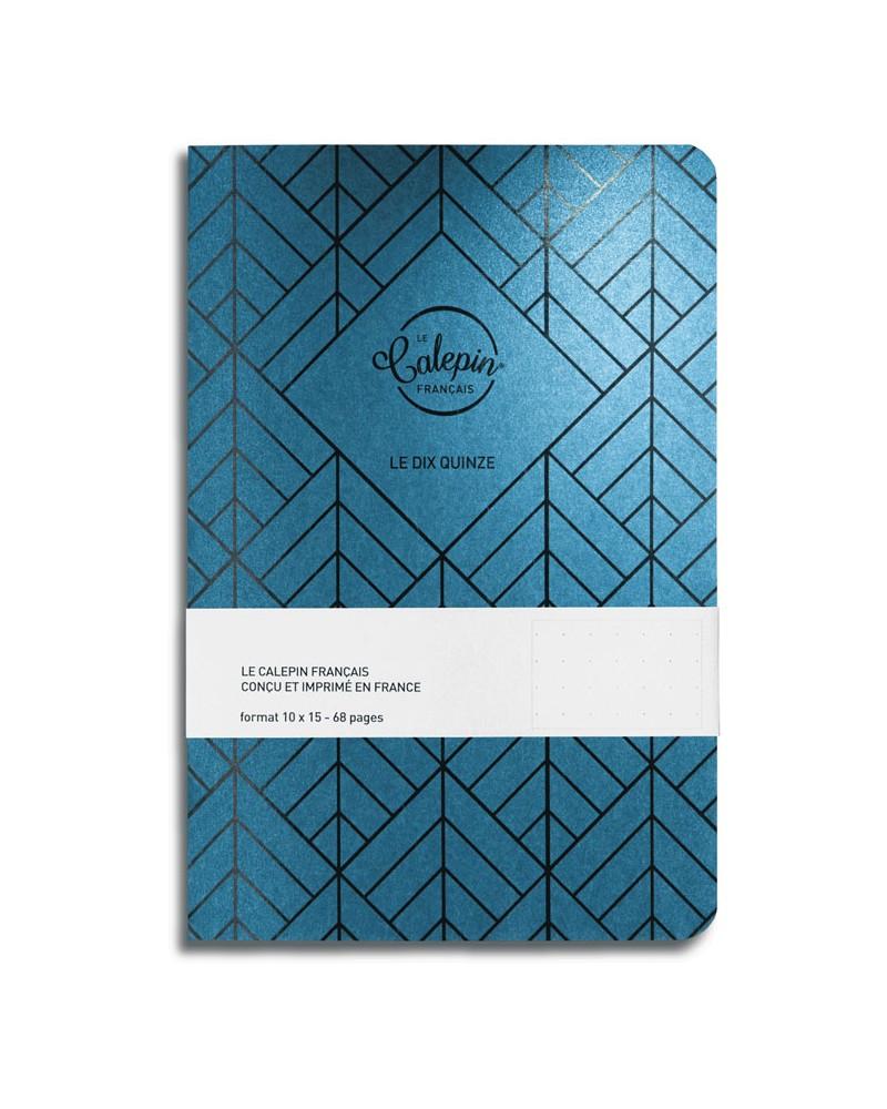 cahier pour notes pointillés 10x15cm bleu vert métal